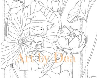PENELOPE'S GARDEN Reading Among the Lilies Digital Download PDF Instant Coloring