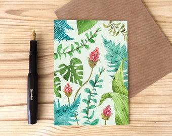 Plant Pattern Greetings Card, Monstera Leaf Card, Jungle Foliage Card