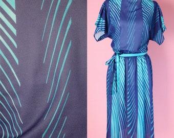 Vintage 70s Tropical Print Dress // Purple, Blue, Teal, Stripe Graphic Print, 1970s, Women Size Medium, Large
