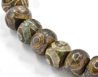 Set of 4 dxi, natural agate beads, 15 x 11 mm, hole 3 mm