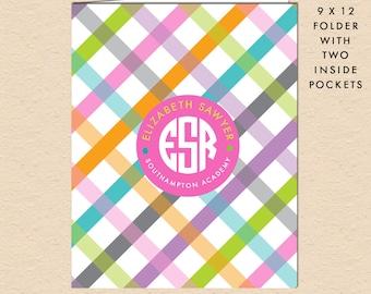 Spring Plaid - Circle Monogram - Personalized, Custom Pocket Folder