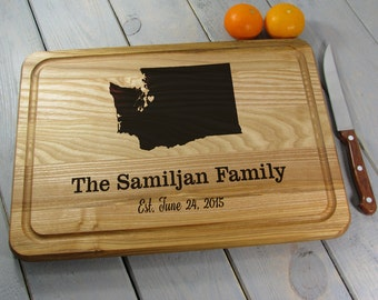 State Cutting Board Any State or Country Map Board, Wedding Gift Cutting Board Personalized Cutting Board With Groove Any State or Country