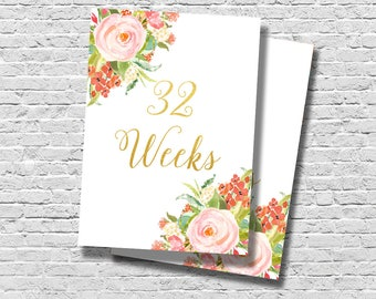 Weekly Pregnancy Countdown Cards, Baby Bump Signs, Baby Week Signs, Maternity Signs, Baby Belly Signs, Printable Weekly Signs, Week by Week