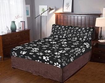 Paw Print Bed Set Black White Paw Print Bedding Set Duvet Cover Pillow  Cases Custom Printed Artist Designed