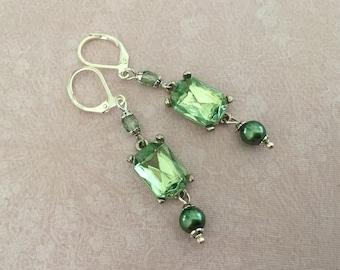 Green octagon silver earrings vintage styled green earrings