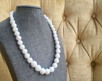White Marble Necklace and Earring set/White Marble/White Necklace/Beaded Necklace/ Drop Earrings/Gift for Her/Gift/Gift for Woman/Birthday