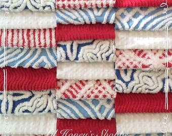 Chenille fabric quilt squares 25-6 inch blocks, pretty shades of Red, white & Blue, patriotic, 4th. Of  July