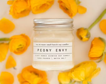 Peony Envy - Spring Soy Candle - Peony Candle - Floral Candle - Natural Soy Candle -Mothers Day Gift - Peony Candle -Candles - Spring Candle