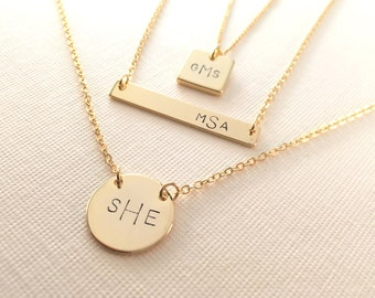 Monogram Necklace • Modern Monogram • in ORDER of First - Last - Middle Name Initials • Bridesmaid, Birthday and for All Gifts • MSS101