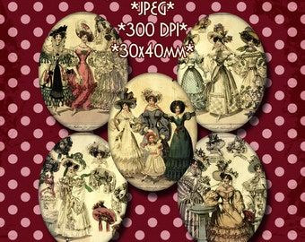 INSTANT DOWNLOAD Vintage Digital Cameos 30x40 mm - Victorian Fashion Illustrations - for Jewelry, Scrapbooking and Crafts