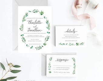 Modern Greenery Wedding Invitation Suite, Wedding Invitation Printable, Invitation Set, Invitation Rustic, Letter or A4(Item code: P1049)