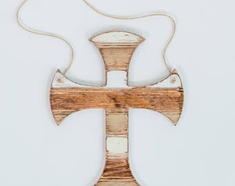 Cross Hanger, Wooden Distressed Antique Bead Board