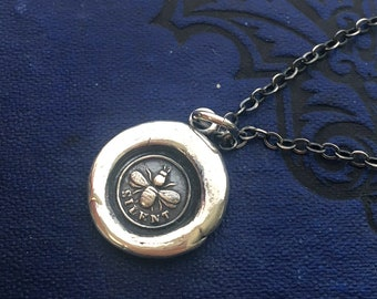 Wax Seal Bee Necklace - Silver Wax Seal Jewelry - Bee Silent Victorian Honey Bee silver Charm