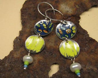 Recycled Earrings / Recycled Tin Earrings / Blue and Yellow Earrings / Upcycled Earrings / Tin Earrings / Aluminum Earrings / Reduce Reuse