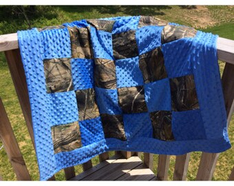 Infant sized patchwork minky camo quilt