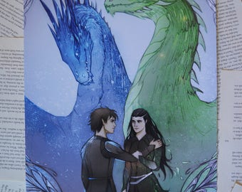 "Eragon and Arya, Saphira and Firnen Art Print 12""x18"" Poster"