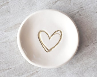 WEDDING RING DISH Custom gold ring holder, bridesmaid gift, bachelorette party favor, silver heart ring plate, jewelry tray, jewelry plate