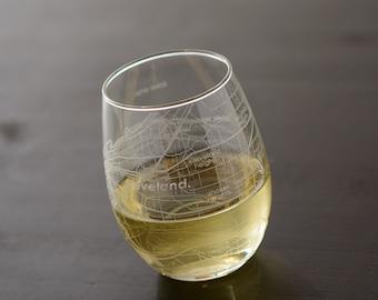 Cleveland Maps Stemless Wine Glass