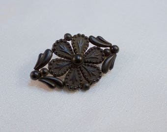 Antique 1880's Vulcanite, Queen Victoria Era Black Mourning Brooch