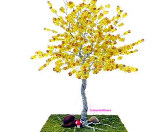 Olive Beaded Wire Tree, Beaded Bonsai Tree, Wire Tree Sculpture, Wire Tree Housewarming Gift, Wedding Gift, Office Desk Decor