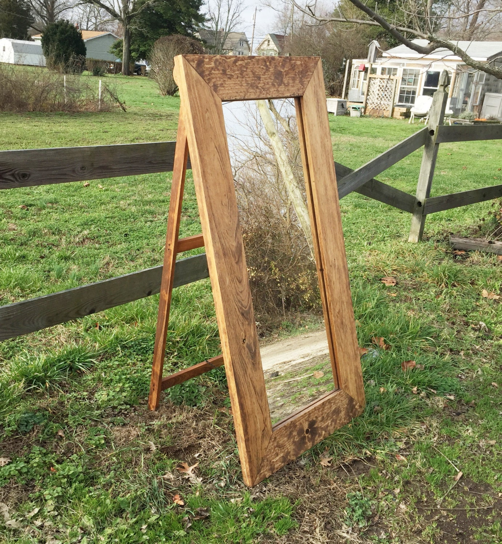 Wood Floor Mirror on Easel & Chain Standing Bedroom Mirrors
