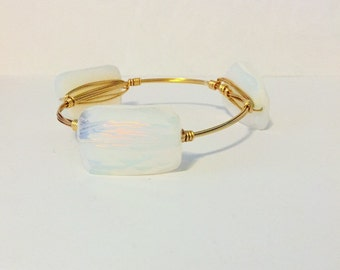 Opalite wire wrapped bangle, wire bangle, wire bracelet, bourbon and bowties inspired, bourbon and boweties inspired, wire wrapped