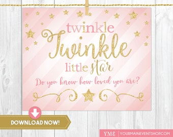 Twinkle Twinkle Little Star Sign • Baby Shower Welcome Sign Printable Instant Download • BS-T-01