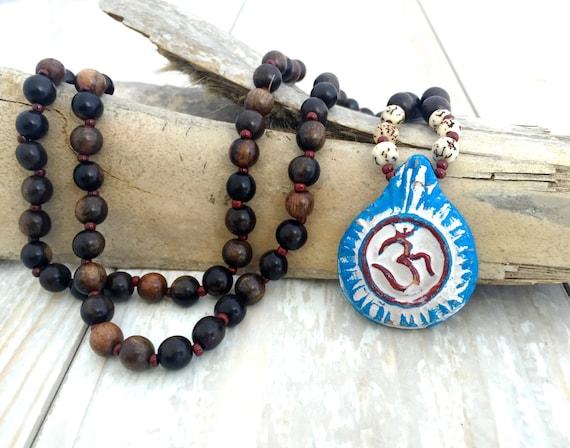 OM Mala Beads, Salwag Seed Mala Beads, Clay OM Pendant, Bohemian Jewelry, Boho Jewelry, Unique Gifts, Yoga Inspired Jewelry