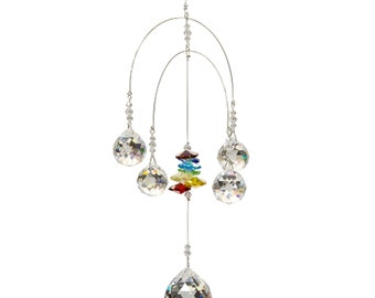 C312D Double Mobile Chakra 5 Crystal Ball Attached Rainbow Maker Hanging Crystal Sun catcher Ornament Porch Decoration Free Shipping in USA!