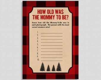 How Old Was the Mommy To Be Baby Shower Game, Guess Mothers Age in Photo, Lumberjack, Red Flannel, INSTANT PRINTABLE