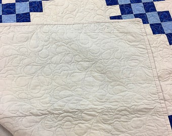 Blue and White Irish Chain patchwork FINISHED QUILT - Feather Quilting
