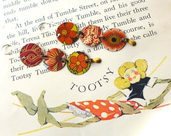 Hot Bright Colors Three Drop Tin Disc Earrings, Sterling Ear Wires, 10th Anniversary, Light Weight Color Pop