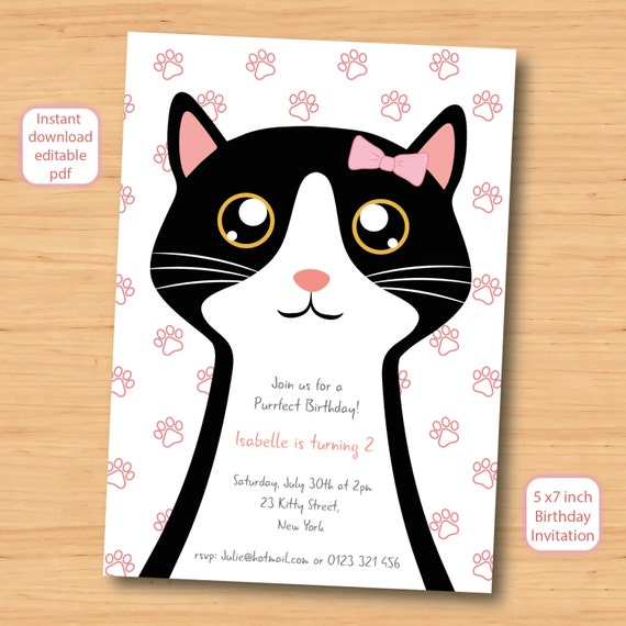 Cat kitty kitten birthday invitation self editable pdf 5 cat kitty kitten birthday invitation self editable pdf 5 x 7 inch customisable printable birthday party invite instant download filmwisefo Image collections