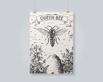 Queen Bee Digital Print, Graphic Design Print