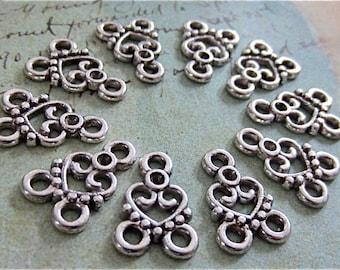 10 Fancy Heart Necklace Links - Antique silver Connectors - Filagree - Filigree Links (ASHFL)