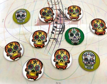 10 PC Bulk Green White Yellow Mexican Sugar Candy Skull Round 2 cm Glass Flat back Cabochon BG3818