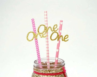 Number One party straws- Gold and Pink- 1st birthday party straws