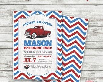 Vintage Truck Birthday Invitation, Pick Up Truck Invitation, Truck Birthday Invitation, Red and Blue Truck Birthday Invitation - Printable