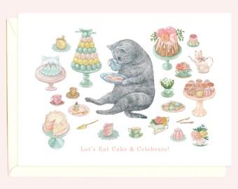 High Tea Kitty Birthday Card (Grey Tabby Cat)