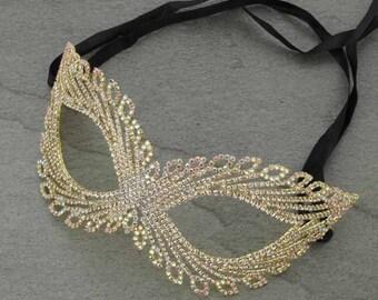 Rhinestone Mask Gold/ABStones