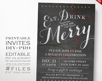 Christmas Invitation Template - Winter Chalkboard Holiday Party Invitation - Printable DIY Christmas Party Invitation Editable Holiday Event
