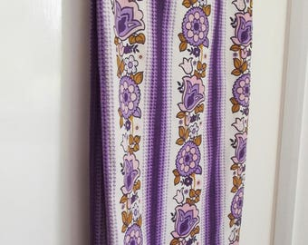 Vintage Pair of Curtains - Flowery Fabric - purple and pink floral stripes