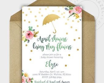 Baby Shower Invitations - Baby Shower - Baby Girl - April Showers Bring May Flowers - Gold Glitter - Personalized - 5x7 - DIGITAL FILE
