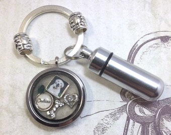 Pet Memorial Cremation Key Ring and Locket Floating Memory Locket Key Ring Pet Photo Locket Key Ring