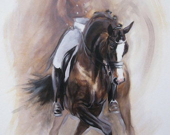 Original dressage acrylic painting equine art horse art wall art 'Dance II' impressionism painting horse lover gift by H Irvine