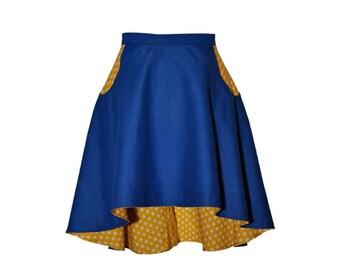 Skirt YELLOW DOTS rock BLUE