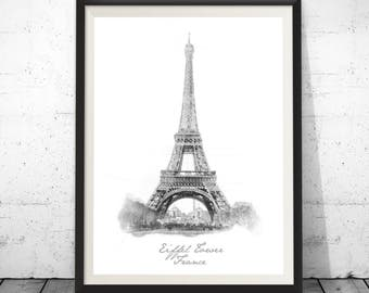 Eiffel Tower Print, Paris Wall Decor, Paris Photo Black and White, Paris Black Print, Black Print, Printable architectural drawing, Travel