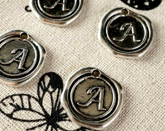Alphabet letter A wax seal charm silver vintage style jewellery supplies