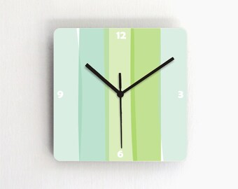 Wall clock soft pastel aqua green turquoise stripes home decor square wall clock
