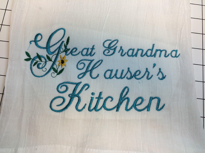 Personalized Kitchen Towel, Dish Towel, Flour Sack Towel, Grandmas ...